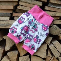 Bavlněné kraťasy Sovičky růžové na bílé